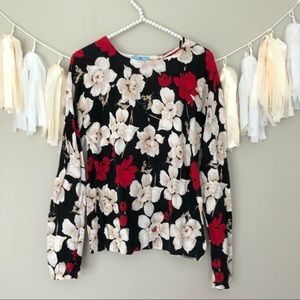 Cece Cynthia Steffe Black & Red Floral Sweater